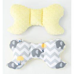 MTT Pillangó párna - Sárga ernyős elefántok - sárga Minky háttal !! KIFUTÓ !!