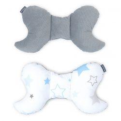 MTT Pillangó párna - Fehér alapon kék csillagok - Szürke háttal