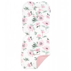 MTT Babakocsi betét - Fehér alapon rózsaszín virágok - Rózsaszín háttal