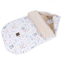 MTT Őszi bundazsák (0-12 hónapos) - Fehér alapon bagoly és nyuszi !! KIFUTÓ !!