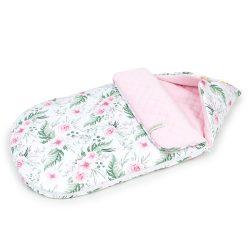 MTT Őszi bundazsák (0-12 hónapos) - Fehér alapon rózsaszín virágok