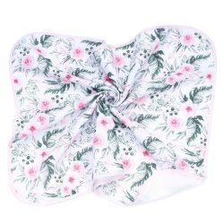 MTT Textil takaró - Fehér alapon Rózsaszín virágok