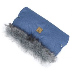 MTT Kézmelegítő babakocsihoz - Farmer kék - szürke szőrmével