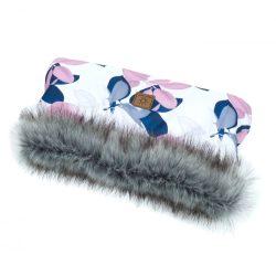 MTT Kézmelegítő babakocsihoz - Fehér alapon rózsaszín és kék levelek
