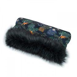 MTT Kézmelegítő babakocsihoz - Trópusi virágok - fekete szőrmével