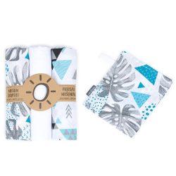 MTT Textil pelenka 3 db + Mosdatókesztyű - Fehér - Szürke levelek és háromszögek