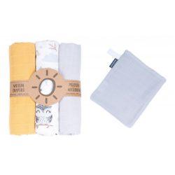 MTT Textil pelenka 3 db + Mosdatókesztyű - Sárga - Fehér - bagoly és nyuszi