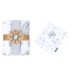 MTT Textil pelenka 3 db + Mosdatókesztyű - Fehér-Szürke - Tollak és virágok