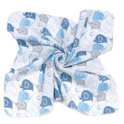 MTT Kis textil pelenka  3 db - Fehér alapon kék elefántok