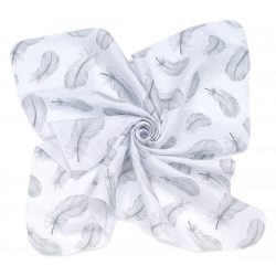 MTT Kis textil pelenka  3 db - Fehér alapon szürke tollak