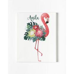 Egyedi névre szóló Falikép-Vászonkép - Csodaszép Flamingó