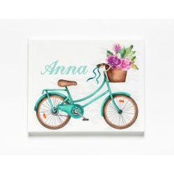 Egyedi névre szóló Falikép-Vászonkép - Bicikli színes virágokkal