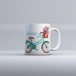 Egyedi névre szóló kerámia bögre - Bicikli színes virágokkal