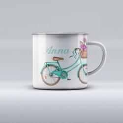 Egyedi névre szóló zománcozott bögre - Bicikli színes virágokkal