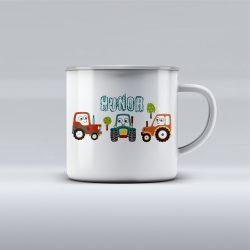 Egyedi névre szóló zománcozott bögre - Traktoros