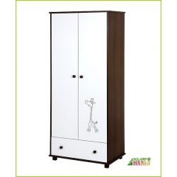 Klups Szafari/Zsiráf 2 ajtós szekrény - törtfehér-dió/Ecru-orzech !! kifutó !!