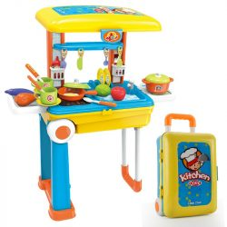 Gyermek játék konyha kofferban 2in1 - Unique Baby - Sárga