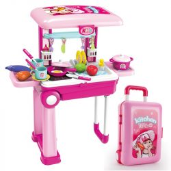 Gyermek játék konyha kofferban 2in1 - Unique Baby - Rózsaszín
