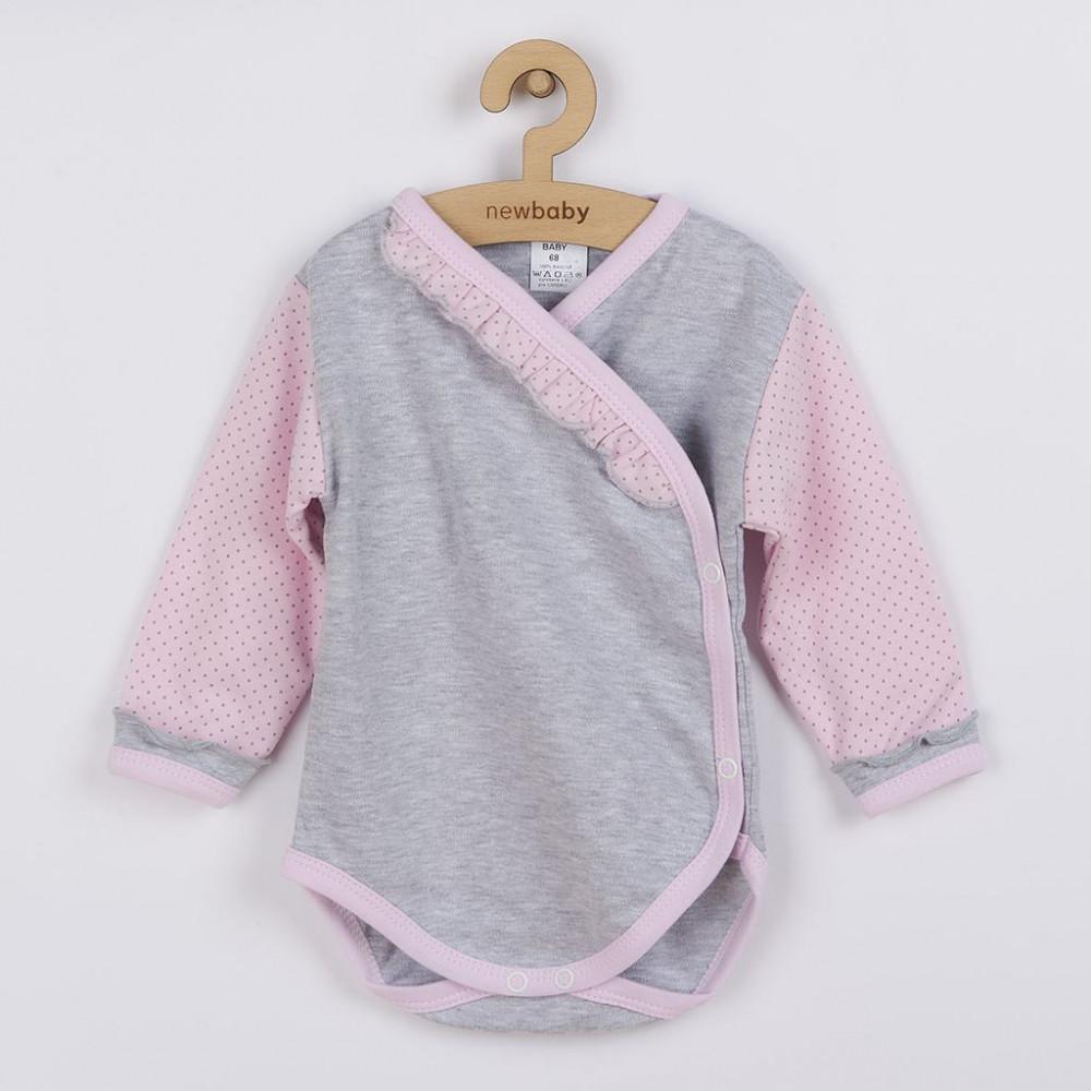 2-részes baba együttes New Baby Pöttyös II szürke-rózsaszín