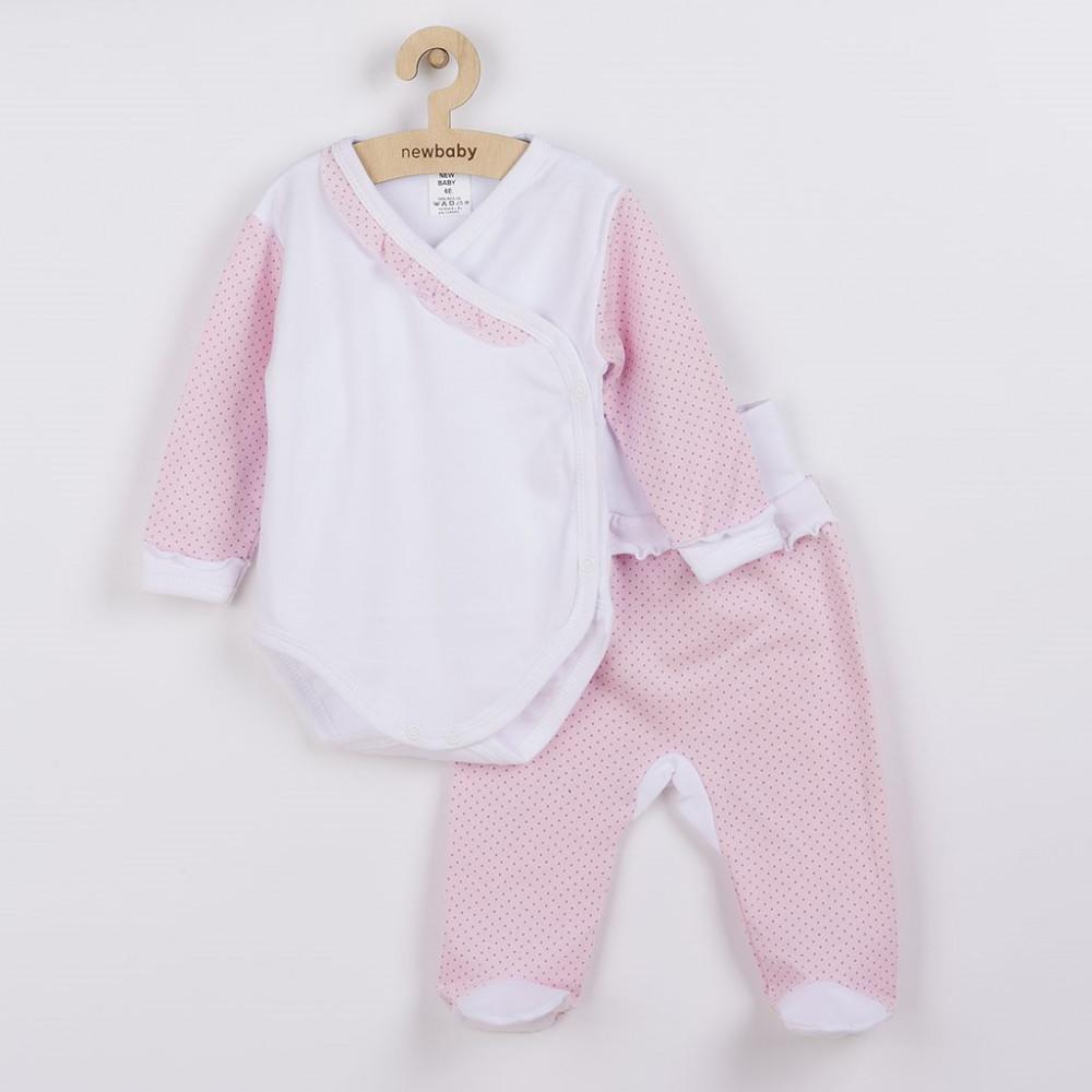 2-részes baba együttes New Baby Pöttyös II fehér-rózsaszín